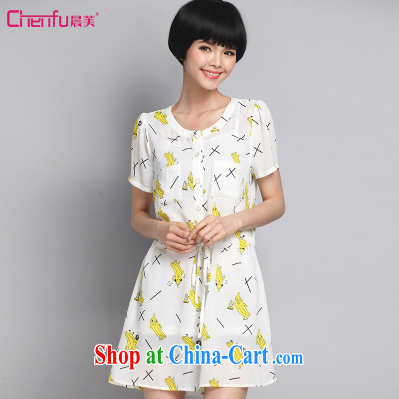 Morning would be the fat increase, female new summer 2015, sweet beauty graphics thin waist, with a short-sleeved white dresses and stylish card stamp dress white 5XL (180 - 200 ) jack