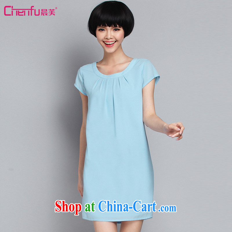 Morning would be 2015 summer new, mm thick simple and fresh and stylish lace stitching snow-woven dresses and indeed increase code round-collar short-sleeve loose dress light blue 5 XL _180 - 200 _ jack