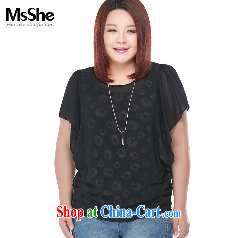 The MSSHE indeed XL women 2015 new summer MM thick snow woven knitted two-piece T-shirt 2847 black-and-white flower 6 XL