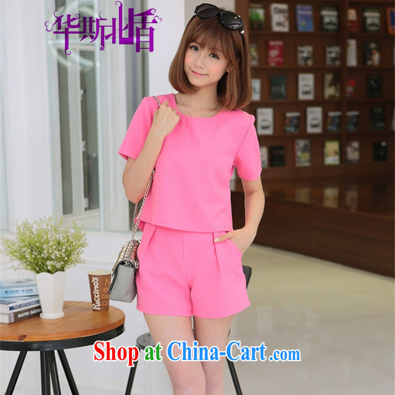Summer new female Korean short-sleeved short, small T-shirt two shorts leisure two kits with small fragrant wind girls were red XL