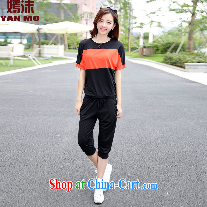 Spray _ Summer 2015 new loose video thin large code short sleeve women 5201 Y black XL recommendations 120 - 140 jack