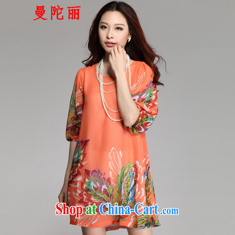 Cayman and Lai 200 Jack larger female summer short-sleeved 2015 summer new women with thick sister and indeed increase stamp duty round-collar snow woven shirts orange XXXL