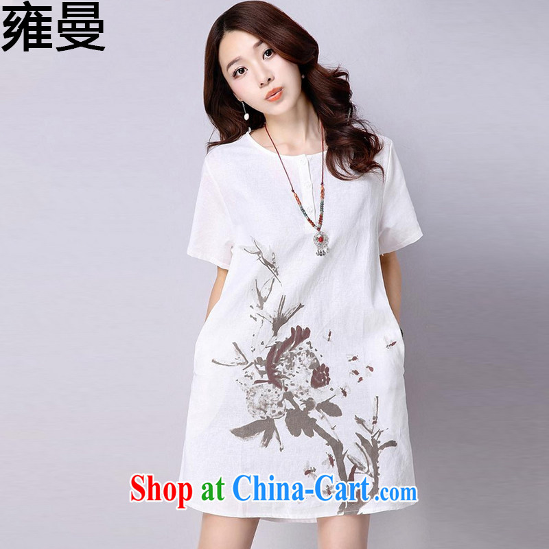 And, the Code women's clothing dresses 2015 summer new unit the water and ink stamp loose the Code women 9066 Y white XL