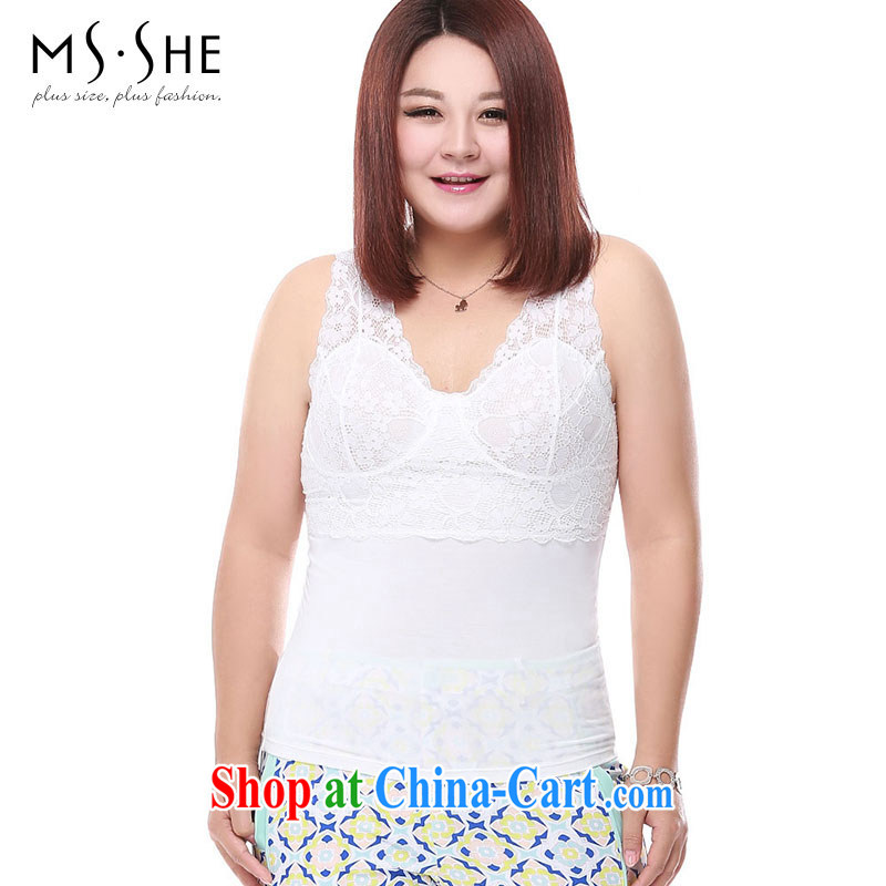 MSSHE XL girls 2015 new summer Deep V collar chest pad bra lace vest 2712 m White 5XL