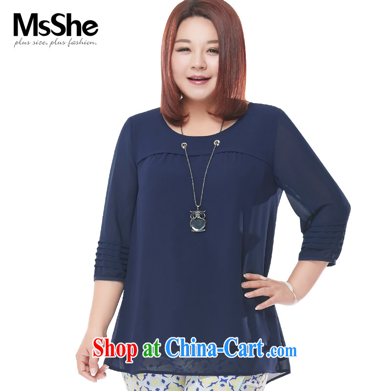 MSSHE XL female snow woven shirts 2015 new summer owl long necklace 7 sub-sleeved shirt snow woven shirts 4631 blue 5 XL