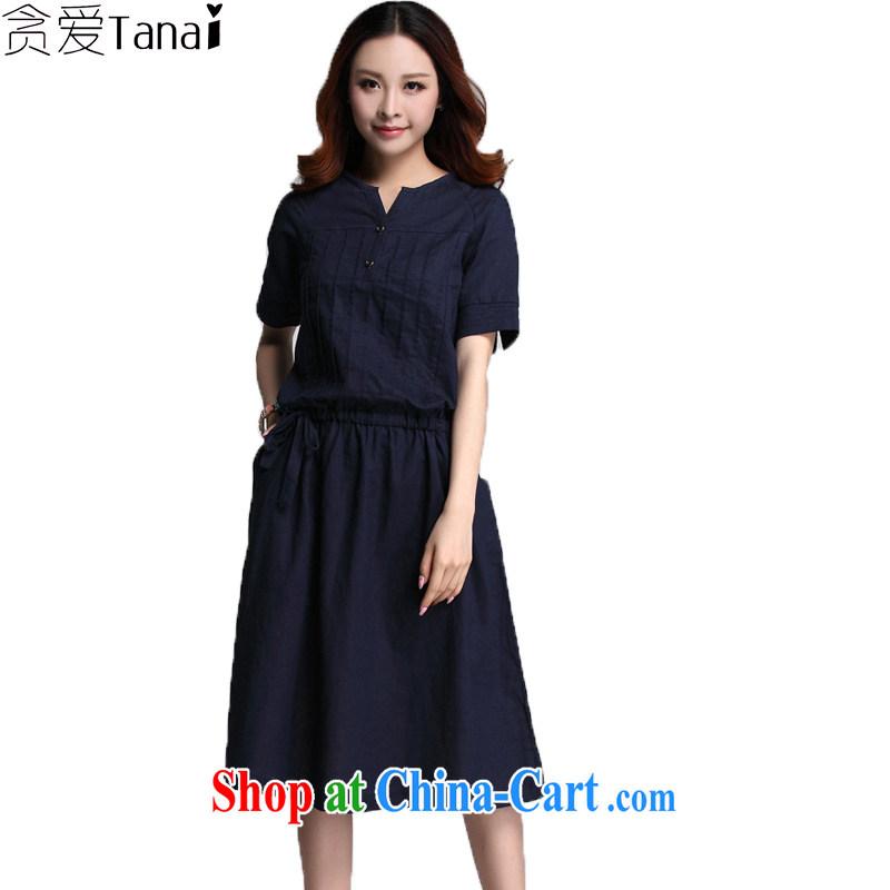Loved new summer wear loose linen_cotton stitching Ethnic Wind thick, XL girls short-sleeved dress 3562 blue 4 XL