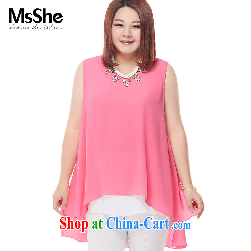 MSSHE XL female snow woven shirts 2015 new summer wear solid-colored loose, long dovetail snow woven shirts vest 4643 pink 3 XL
