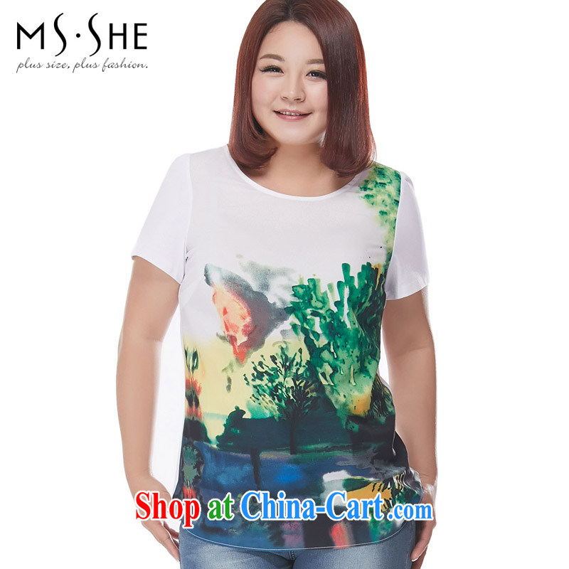 MSSHE XL women summer 2015 new Europe round-collar scenic beauty stamp duty short-sleeved T pension pre-sale 6492 white XL - Pre-sale on 30 June to the