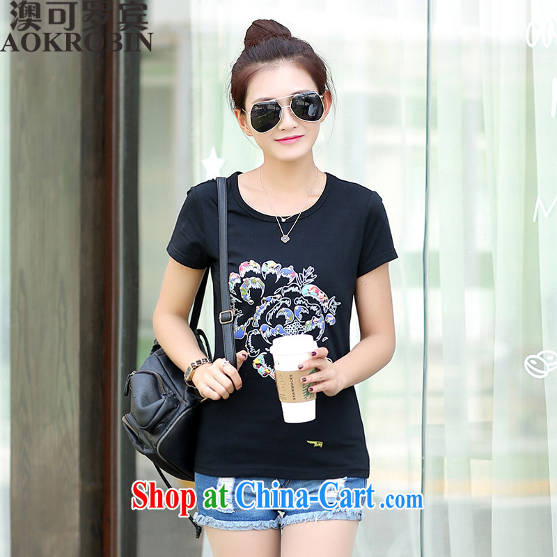 Australia, Robin 2015 summer new products, women with personalized stamp duty and stylish short-sleeve, and indeed, increased T pension black 2 XL _125 - 140 _ jack