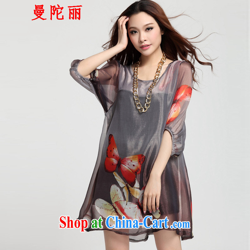 Cayman and Lai 200 Jack larger female summer short-sleeved 2015 summer new female fat sister and indeed intensify lantern cuff loose Leopard butterfly gray XXXL