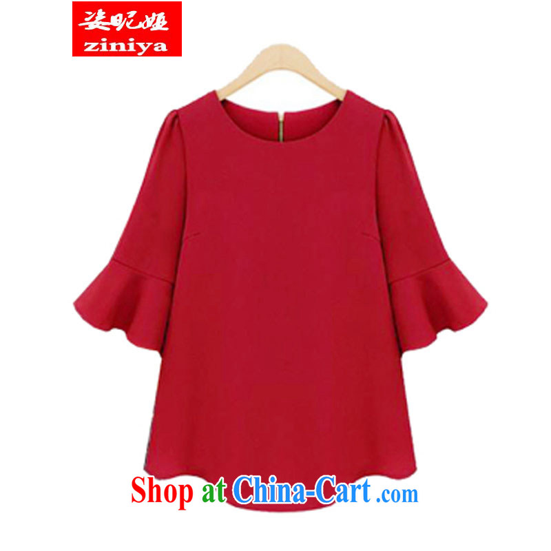 Exciting and young Julia and indeed intensify summer, girls with thick, thin significantly in Europe and America, T pension 5 horn sleeveless snow solid woven shirt red XXL