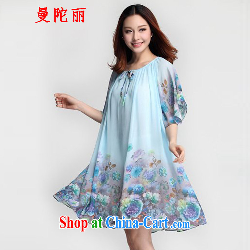 Amman, and larger female summer thick sister snow woven dresses 2015 new bowtie loose stamp duty, long, snow-woven shirts skirt blue XXXL