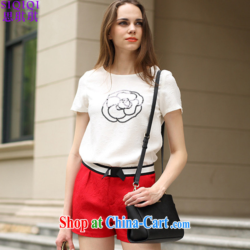 The Qi Qi _SIQIQI_ 2015 summer new thick MM, T shirt + shorts two pack TZ 1046 photo color XXL