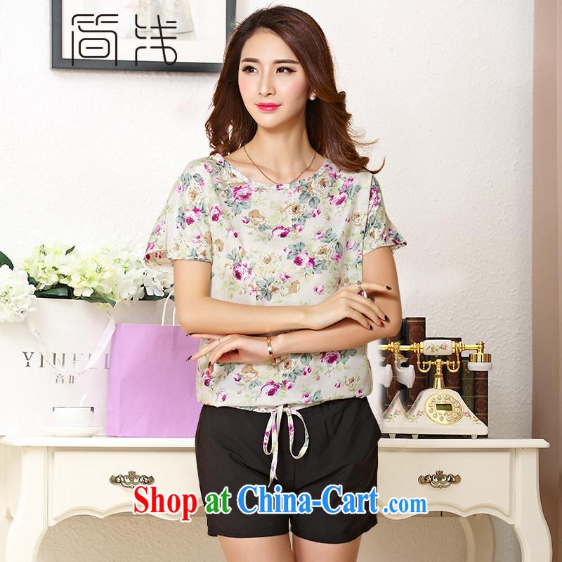 In 2015 a new summer women, female short-sleeved T-shirt girls shorts girls sportswear girls summer 1207 aubergine 5 XL