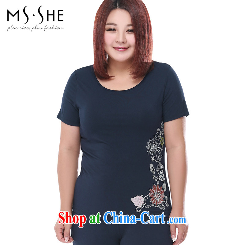 MSSHE XL ladies' 2015 summer new home kit kit with stamp duty pajamas 2708 Tibetan cyan 5 XL
