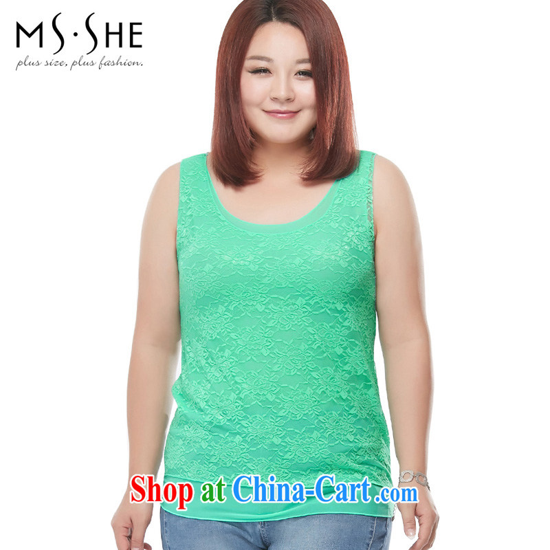 MSSHE XL girls 2015 new summer stretch Web lace solid color T-shirt T-shirt 2713 mint green 3 XL