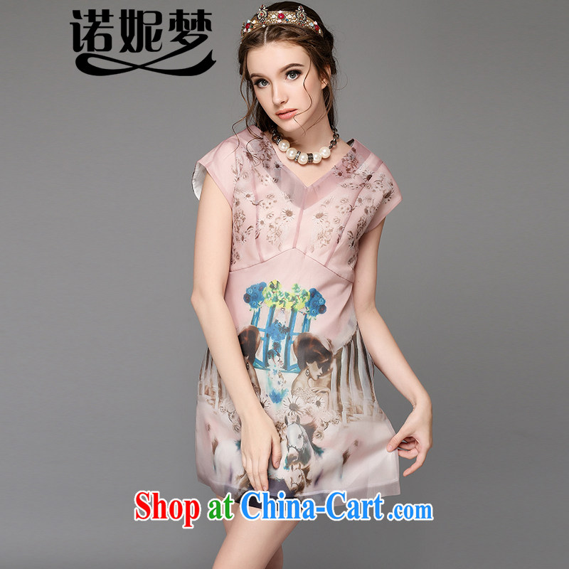 Connie's dream in Europe 2015 new high-end large, female summer mm thick aura V stamp duty for short-sleeved emulation Silk Dresses G 729 pink XL