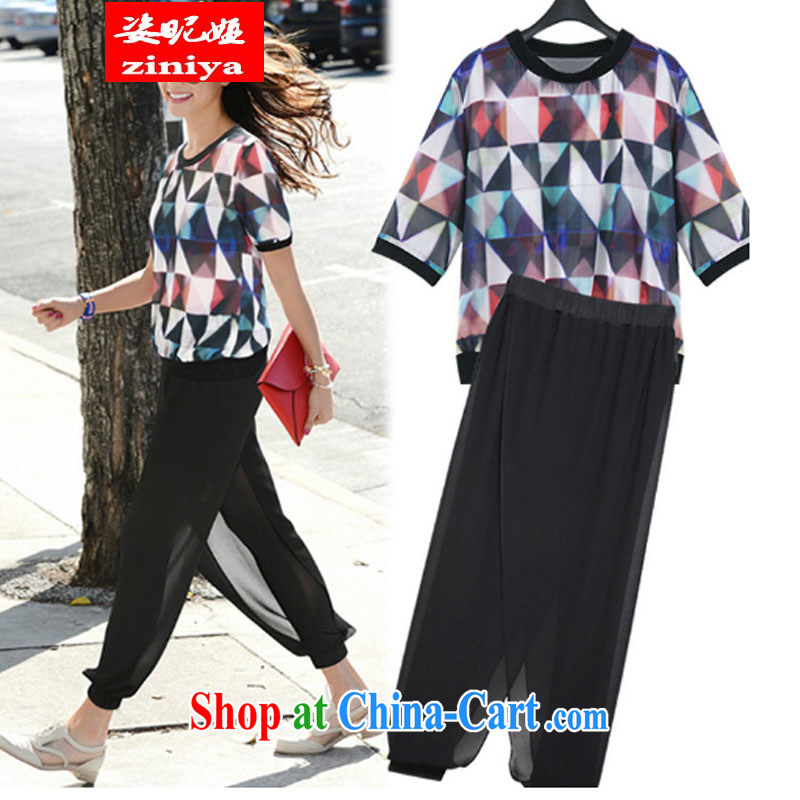 Colorful nickname Julia larger female summer is the increased emphasis on MM snow woven shirts thick girls with graphics thin, short-sleeved T-shirt + snow woven shorts package picture color XXXXXL