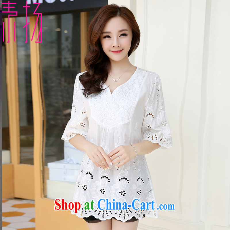 Speakers of the Code female Ethnic Wind female embroidery and indeed increase T-shirt loose video thin summer T-shirt thick mm dress cotton short-sleeved 1021 white XXL 155 - 185 jack