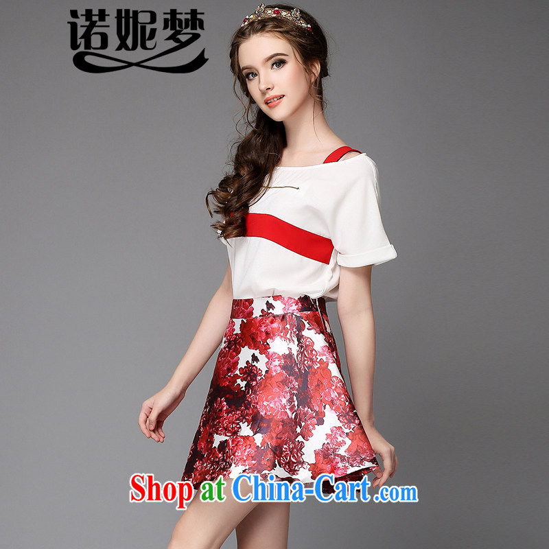 Connie's dream summer 2015 installation of new, high-end European and American large Code women mm thick a field for your shoulders short-sleeved shirt T female floral skirts package dresses G 723 red 3XL