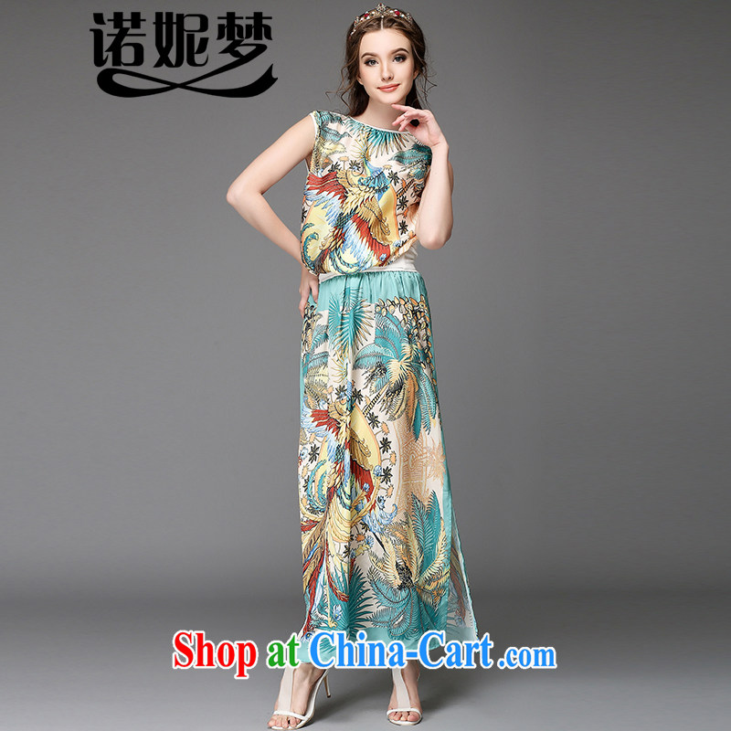 The Connie was a high-end European and American large code female summer new thick mm temperament Phoenix stamp beach skirt sleeveless long skirt Kit silk dresses two piece G suit 725 5 XL