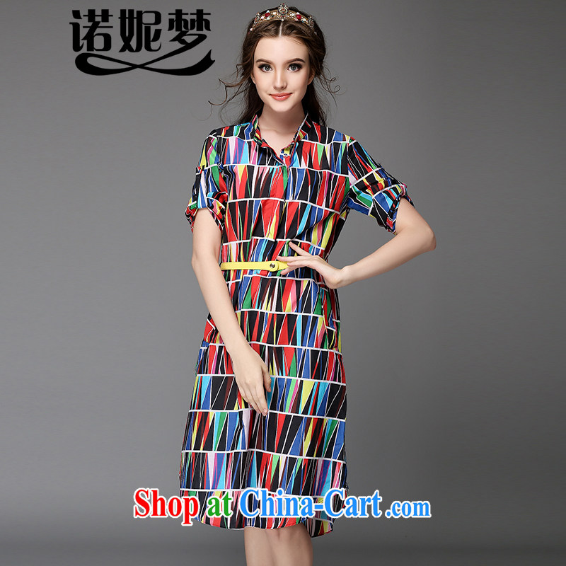 Connie's dream 2015 summer new, high-end European and American large Code women mm thick color collision geometry stamp long shirt skirt loose video thin dresses G suit 726 5 XL