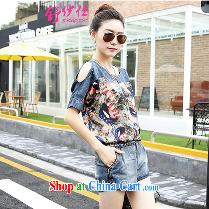 Shu, Shi trend Korean loose the code snow woven stitching cowboy Kit female bare shoulders T shirts shorts leisure two-piece street non-mainstream personality sweet clothing summer picture color M