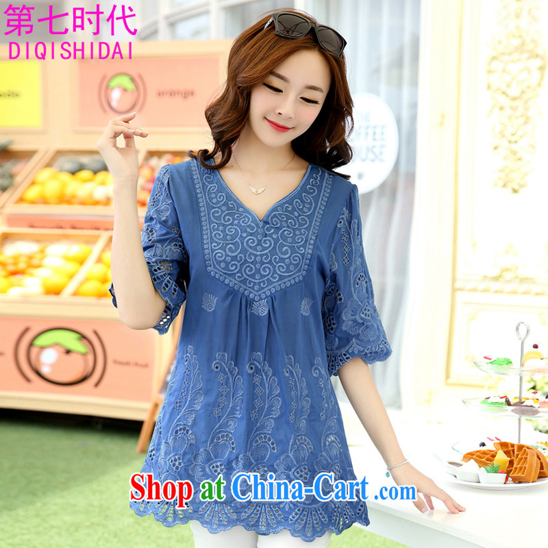 The first 7 times the code dress dresses Ethnic Wind female embroidery the fat and loose video thin summer T-shirt thick mm dress cotton short-sleeved 1021 blue L 90 - 135 jack