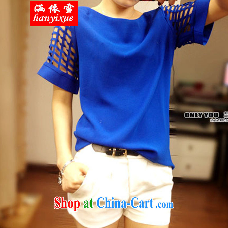 covered by snow in accordance with 2015 mm thick summer graphics thin short sleeved shirt T Snow woven shirts thick sister half sleeve T-shirt blue XXXL
