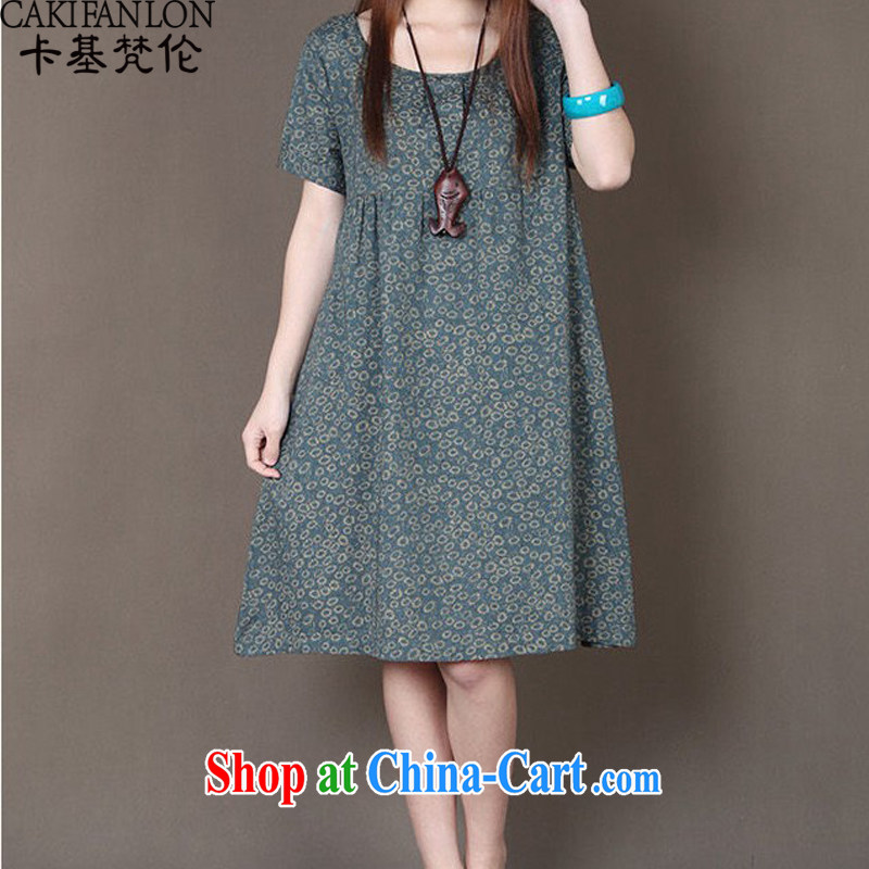The base Van Gogh, the Code women summer 2015 new Korean version loose small floral round-collar short-sleeve the code style dresses gray-green L