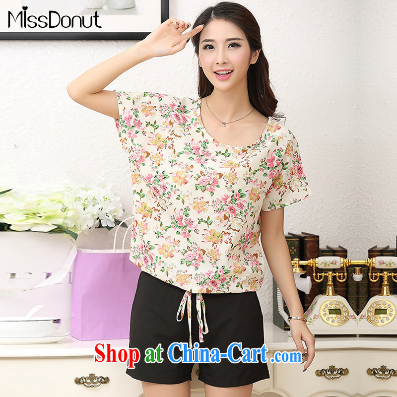 MissDonut mm thick and fat increases, female Korean summer wear thick, graphics thin, fragile flower snow woven shirts Leisure package shorts two piece peach large code 5 XL