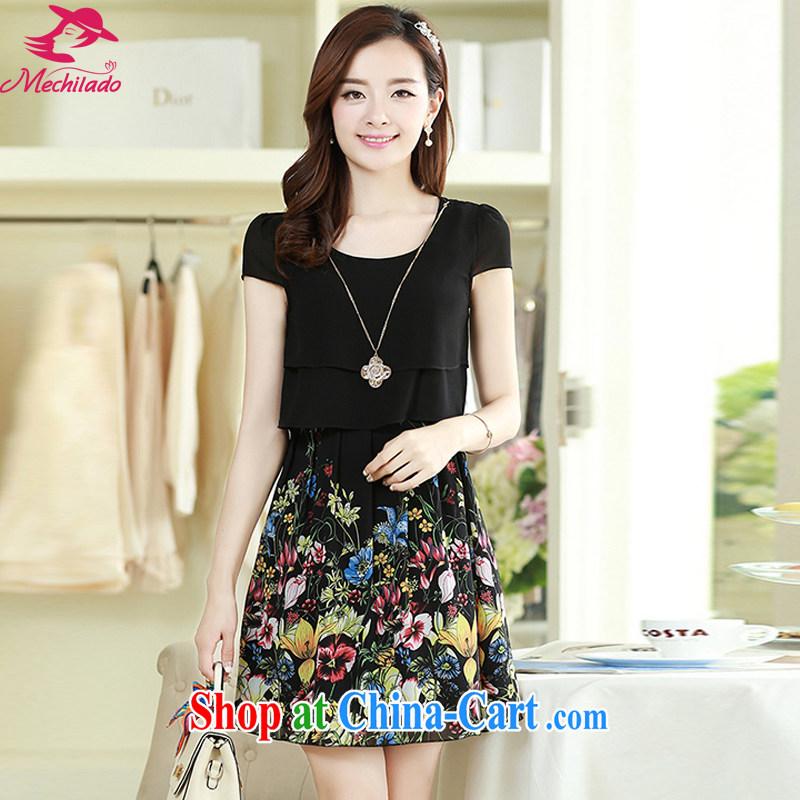 Mechilado 2015 summer new Korean version stylish women round-collar short-sleeve elegant collision color stitching snow stamp duty woven dresses 088 black XXL