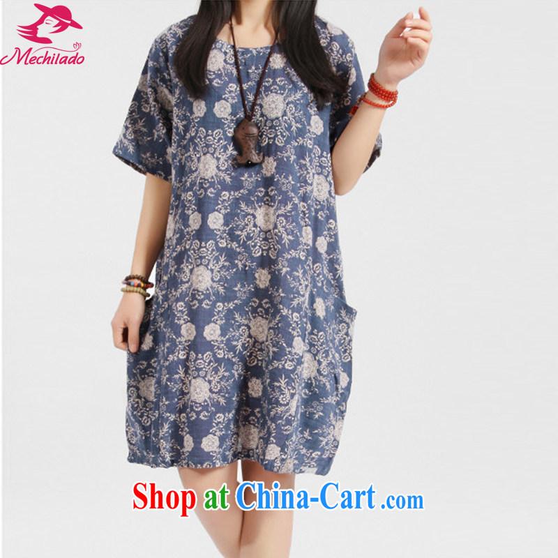 Mechilado summer 2015 new Korean trendy Code women's clothing stamp art van loose cotton Ma round-collar short-sleeve dress 3036 blue XXL