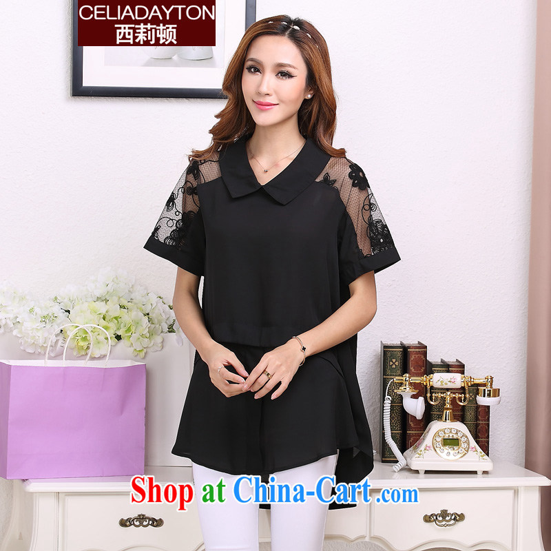 Szili and Macedonia is indeed XL 200 Jack female 2015 summer mm thick sister new relaxed, long graphics thin ice woven shirts fat mother short-sleeved lace shirt black XXXL
