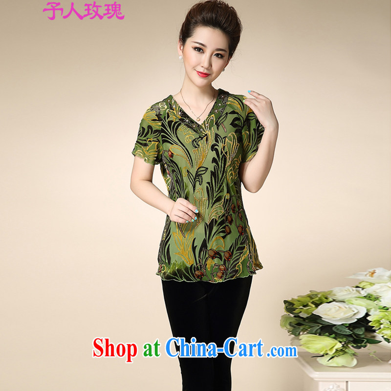 MOM loaded summer new, women in high older Korean short-sleeve silk shirt 100_ sauna silk shirt incense cloud yarn trendy code shirt grandmother with green XXXL