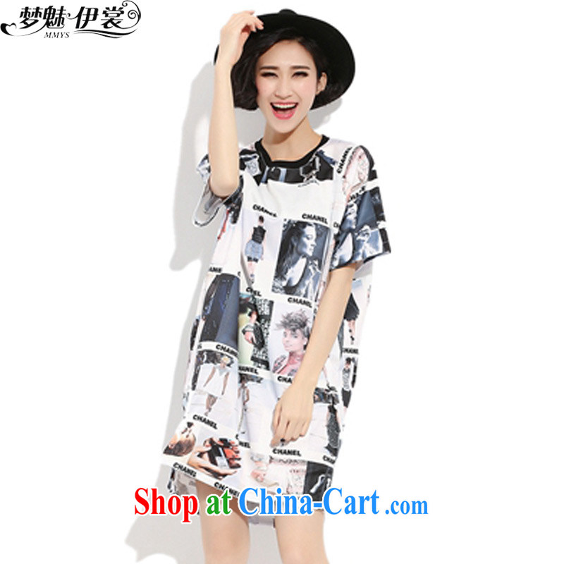 Director of the Advisory Committee 2015 summer new loose the fat XL women mm thick, long, short-sleeved stamp T-shirt-skirt T go Soo-pattern loose all code