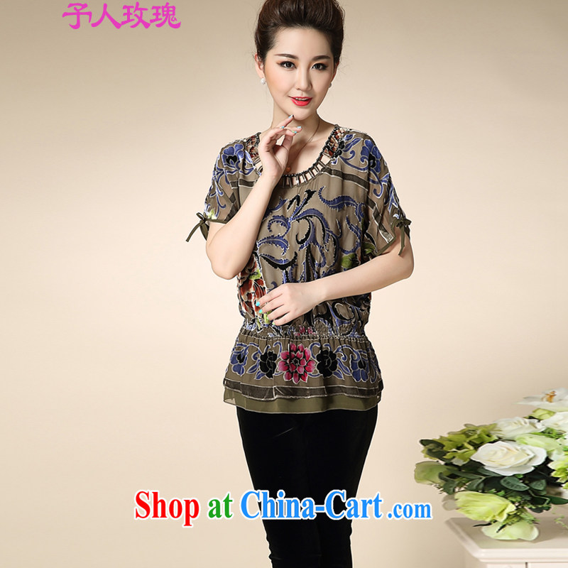 To the people rose middle-aged and older short-sleeved silk shirt middle-aged female mother load summer sauna T silk shirts and coffee gray XXXXL