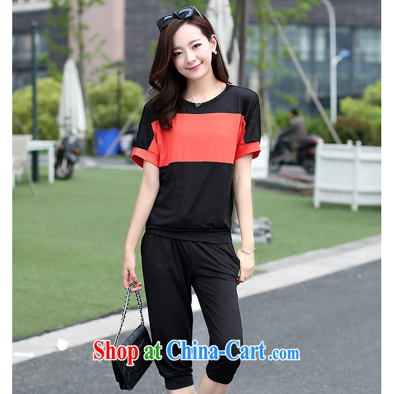The sin 2015 XL girls thick mm summer Korean thick sister oversized graphics thin sport and leisure package black XXXL