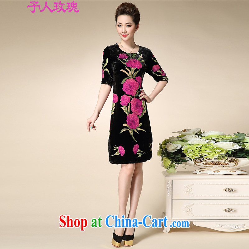 To the people rose middle-aged and older women wear summer mom with silk dresses middle-aged and elegant sauna silk skirt stamp duty rose red XL