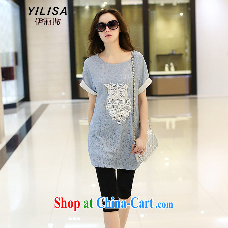 2015 YILISA in Europe and America, the female summer new t-shirt thick mm summer trendy code graphics thin lace Openwork T pension Y 9090 blue XXXL