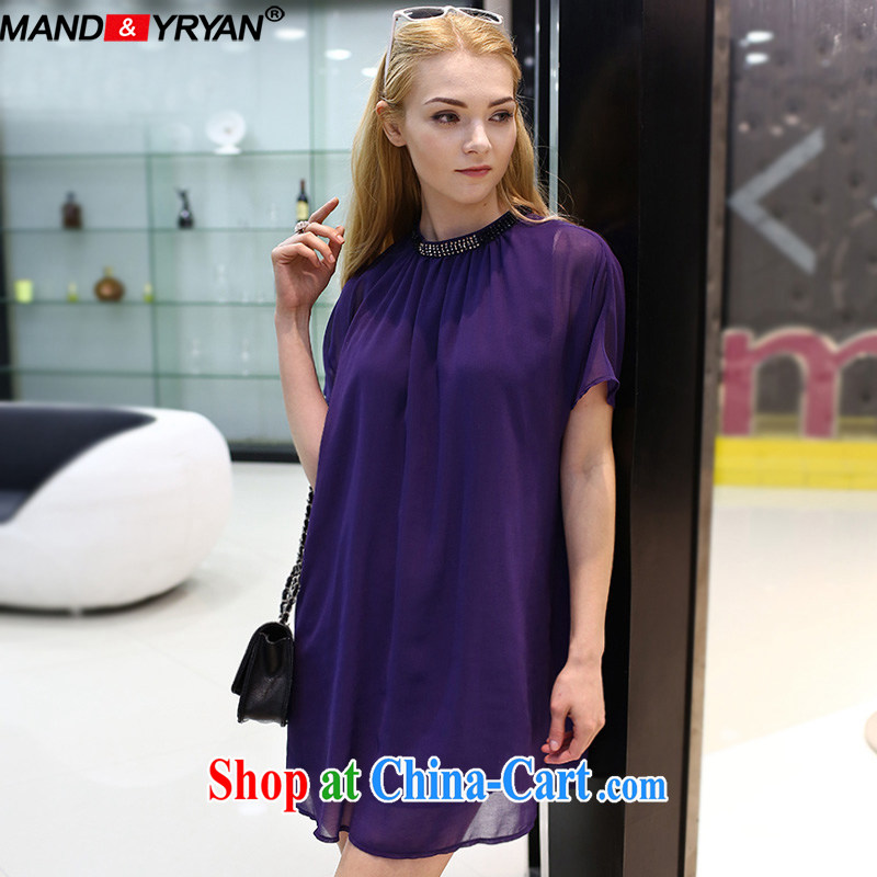 Romantic, Ryan 2015 new, the United States and Europe, women with larger female summer is the increased emphasis on MM graphics thin nail Pearl dresses with purple skirt MDR XXXXXL 1912 180 - 200 Jack left and right