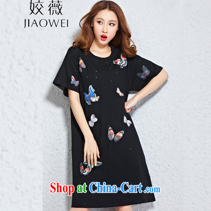 Ms Audrey EU aviation Mr Ronald ARCULLI, female butterfly loose the code for stylish casual short-sleeved dresses ZM 2502 black large code are code