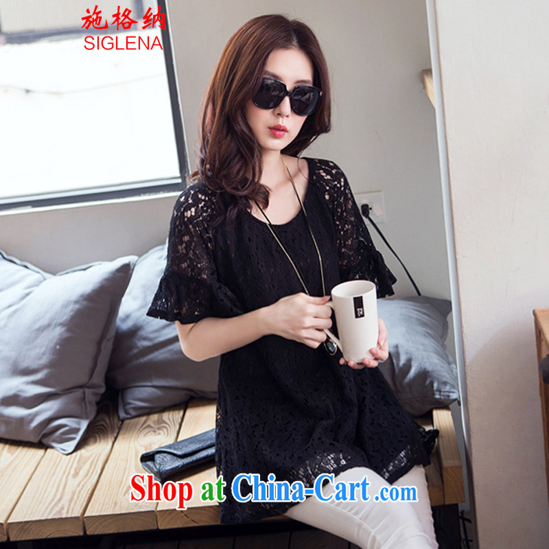 The rate of summer 2015 New, and indeed increase, female fat mm length in sleeveless shirts T beauty lace T-shirt 8579 black XL