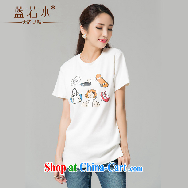 blue water the Code women 2015 summer new Korean version loose short-sleeved round-collar lounge, with the forklift truck T shirt large white code XXL
