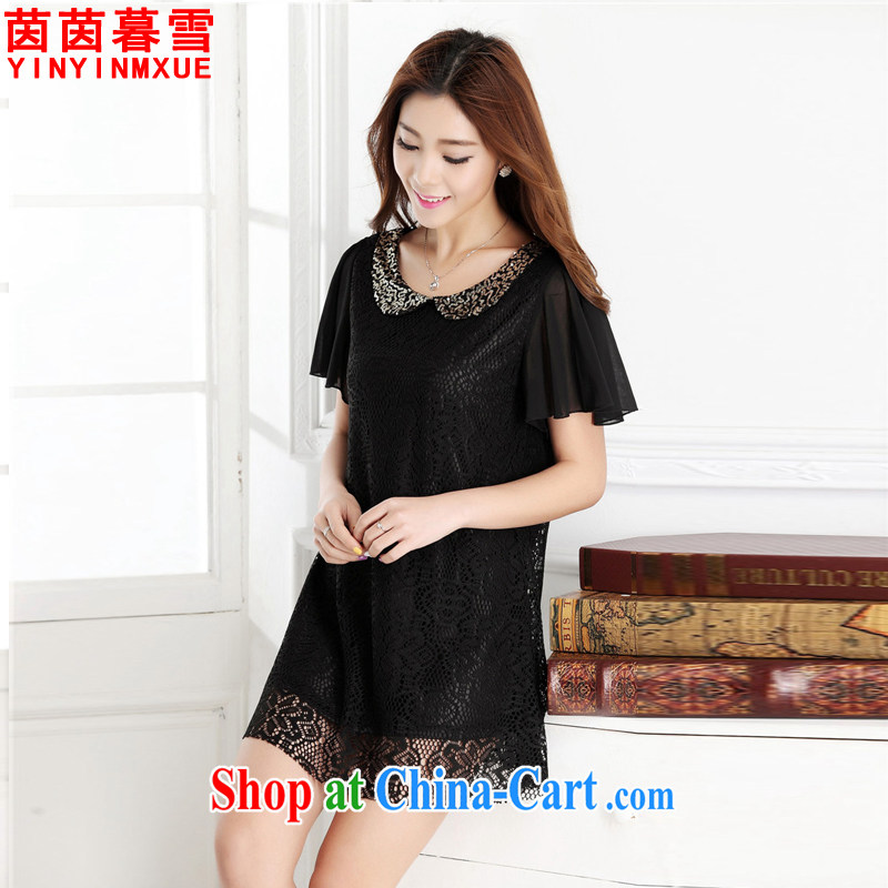 Athena Chu Yan and snow summer new thick mm summer 2015 lace aura snow beauty woven shirts dress 8501 black XXL