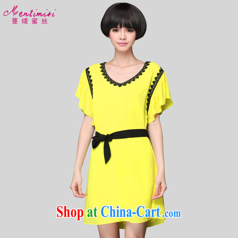 Mephidross economy honey, and indeed increase, women's clothing summer 2015 new thick sister Korean version of a dress 1304 yellow large code 5 XL 200 Jack left and right