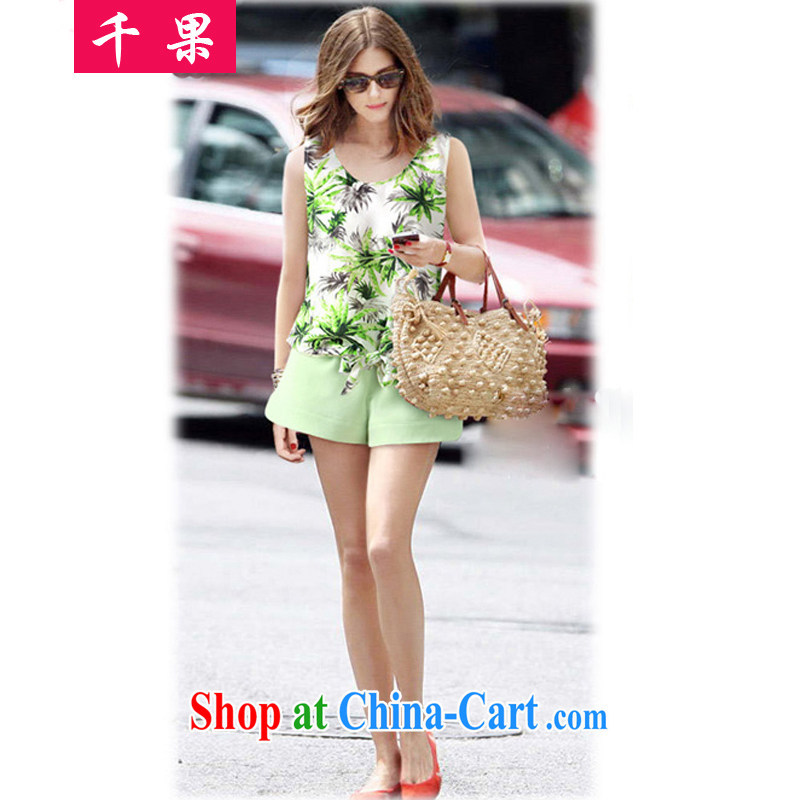 1000 fruit 2015 thick MM summer XL female small fresh stamp snow woven sleeveless vest video thin T shirt + pure color wide leg shorts package 362 picture color 5 XL