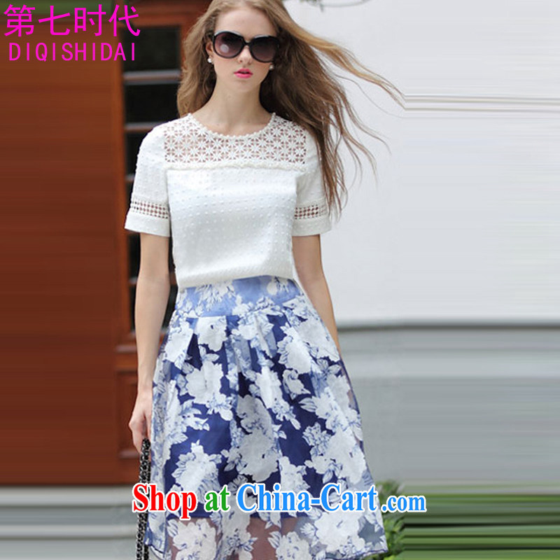 The first 7 times dresses summer new XL ladies short-sleeve thick MM European and American style hook blossoms, two-piece 9097 white XL
