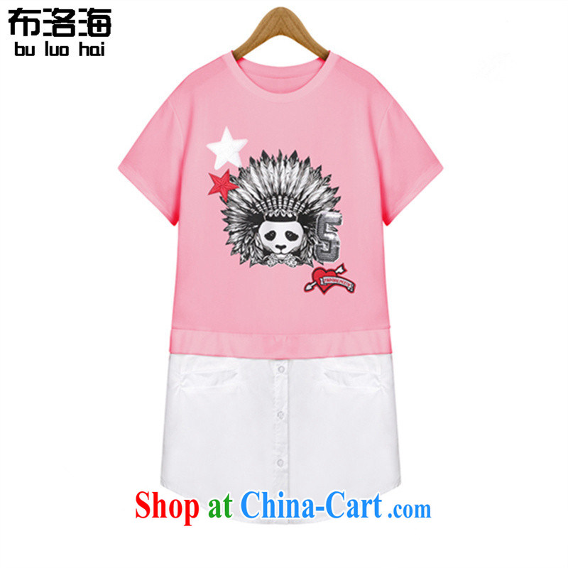 The sea 2015 summer new, large, female fat MM, with stitching and relaxed casual short-sleeved T shirts dresses women 2648 pink XXXL_140 - 160 jack