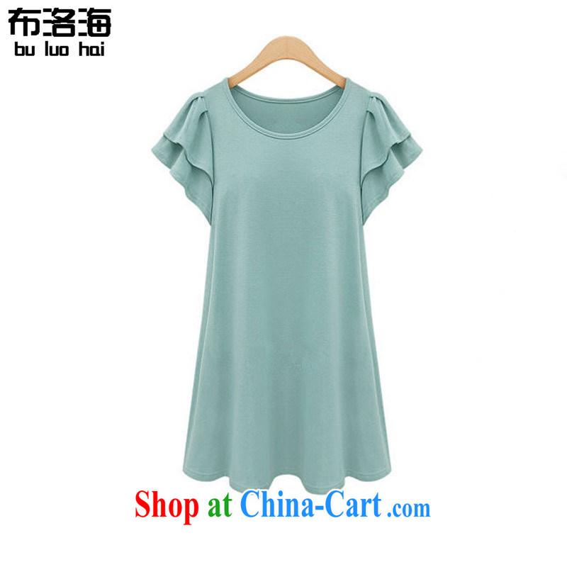 The sea 2015 summer new 200 Jack thick MM flouncing short-sleeved shirt T larger female casual dress women 2641 green XXXXXL